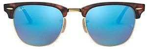 Óculos de Sol Ray-Ban Clubmaster Tartaruga - Azul Espelhado RB3016