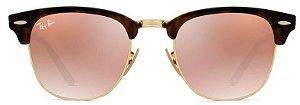 Óculos de Sol Ray-Ban Clubmaster Tartaruga - Rosa Espelhado RB3016