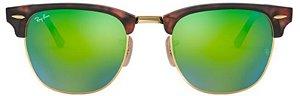 Óculos de Sol Ray-Ban Clubmaster Tartaruga - Verde Espelhado RB3016