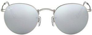 Óculos de Sol Ray-Ban RB3447 Round Prata Espelhado
