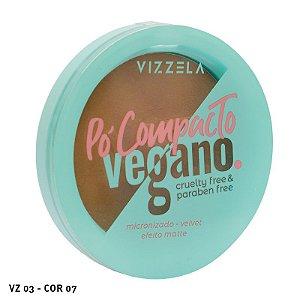 Pó Compacto Vegano Cruelty Free Vizzela cores escuras