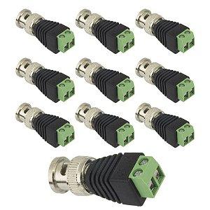KIT 10 PLUG CONECTOR P4 BNC BORNE  P/ CFTV CAMERA BORNE