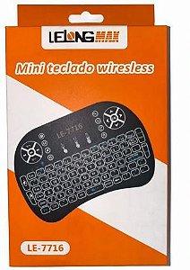 MINI TECLADO LELONG COM LED WIRELESS PARA TV SMART / ANDROID BOX / PC