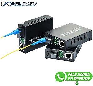 Conversor de Mídia 10/100/1000 Base-TX para 1000 Base-FX Gigabit Ethernet Converter