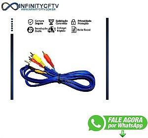 Cabo De Áudio E Vídeo Rca3/rca3 Av 3 Metros Azul Infinity Cftv