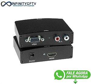 Conversor Adaptador Vga P/ Hdmi C/ Áudio Rl - Lelong Le-4112 Infinity Cftv