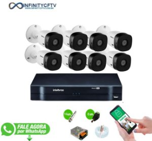 Kit Intelbras 8 Câmeras HD 720p VHL 1120 B + DVR 1108 Intelbras - InfinityCftv