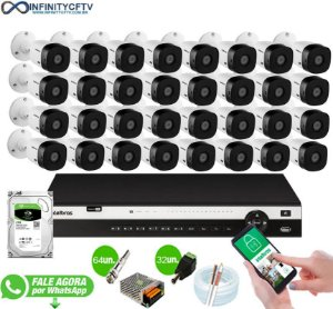 Kit Intelbras 32 Câmeras HD 1080p + DVR 3132 Intelbras + HD 2TB - InfinityCftv