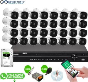 Kit Intelbras 32 Câmeras HD 720p VHL 1120 B + DVR 1132 Intelbras + HD 2TB - InfinityCftv