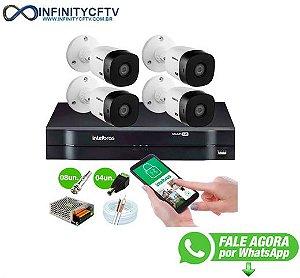 Kit Intelbras 4 Câmeras HD 720p VHL 1120 B + DVR 1104 Intelbras + Acessórios-Infinity Cftv