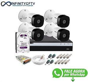 Kit Intelbras 4 Câmeras Full HD 1080p VHL 1220 B + DVR MHDX 3104 Intelbras com HD 1TB + Acessórios-Infinity Cftv