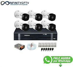 Kit 6 Câmeras VHD 1010 B G6 + DVR Intelbras + App Grátis de Monitoramento, Câmeras HD 720p 10m Infravermelho de Visão Noturna Intelbras + Fonte, Cabos e Acessórios-Infinity Cftv