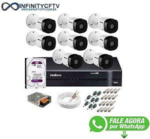 Kit 8 Câmeras VHD 1120 B G5 + DVR Intelbras + HD 1TB para Armazenamento + App Grátis de Monitoramento, Câmeras HD 720p 20m Infravermelho de Visão Noturna Intelbras + Fonte, Cabos e Acessórios-Infinity Cftv