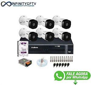 Kit 6 Câmeras VHD 1010 B G6 + DVR Intelbras + HD 1TB para Armazenamento + App Grátis de Monitoramento, Câmeras HD 720p 10m Infravermelho de Visão Noturna Intelbras + Fonte, Cabos e Acessórios-Infinity-Cftv