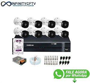 Kit 8 Câmeras VHD 1010 B G6 + DVR Intelbras + HD 1TB para Armazenamento + App Grátis de Monitoramento, Câmeras HD 720p 10m Infravermelho de Visão Noturna Intelbras + Fonte, Cabos e Acessórios-Infinity Cftv