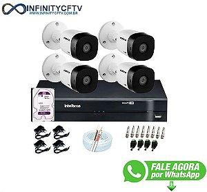 Kit 4 Câmeras VHD 1010 B G6 + DVR Intelbras + HD 1TB + App Grátis de Monitoramento, HD 720p 10m Infravermelho + Cabos e Acessórios-Infinity Cftv