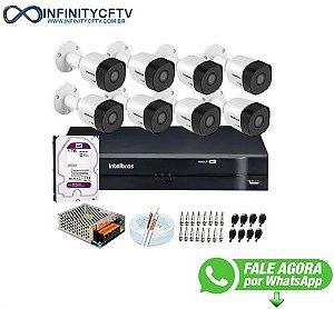 Kit 8 Câmeras VHD 3120 B G6 + DVR Intelbras + HD 1TB para Armazenamento + App Grátis de Monitoramento, Câmeras HD 720p 20m Infravermelho de Visão Noturna Intelbras + Fonte, Cabos e Acessórios-Infinity Cftv