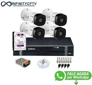 Kit Intelbras 4 Câmeras HD 720p VHL 1120 B + DVR 1104 Intelbras com HD 1TB + Acessórios-Infinity Cftv