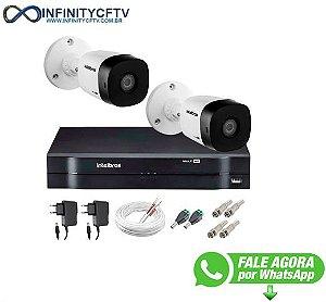 Kit 2 Câmeras VHD 1120 B G5 + DVR Intelbras + App Grátis de Monitoramento, Câmeras HD 720p 20m Infravermelho de Visão Noturna Intelbras + Fonte, Cabos e Acessórios-Infinity Cftv