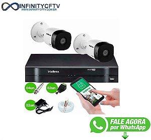 Kit 2 Câmeras VHD 1010 B G6 + DVR Intelbras + App Grátis de Monitoramento, Câmeras HD 720p 10m Infravermelho de Visão Noturna Intelbras + Fonte, Cabos e Acessórios-Infinity Cftv