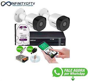 Kit 2 Câmeras VHD 3120 B G6 + DVR Intelbras + HD 1TB para Armazenamento + App Grátis de Monitoramento, Câmeras HD 720p 20m Infravermelho de Visão Noturna Intelbras + Fonte, Cabos e Acessórios-Infinity Cftv