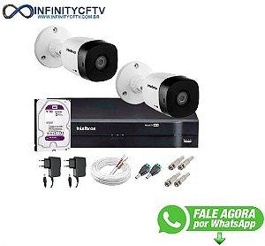 Kit 2 Câmeras VHD 1120 B G5 + DVR Intelbras + HD 1TB para Armazenamento + App Grátis de Monitoramento, Câmeras HD 720p 20m Infravermelho de Visão Noturna Intelbras + Fonte, Cabos e Acessórios-Infinity Cftv