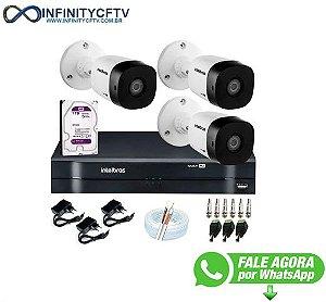 Kit 3 Câmeras VHD 1010 B G6 + DVR Intelbras + HD 1TB para Armazenamento + App Grátis de Monitoramento, Câmeras HD 720p 10m Infravermelho de Visão Noturna Intelbras + Fonte, Cabos e Acessórios-Infinity Cftv