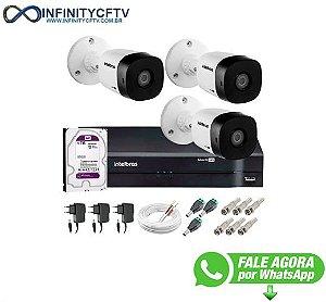 Kit 3 Câmeras VHD 1120 B G5 + DVR Intelbras + HD 1TB para Armazenamento + App Grátis de Monitoramento, Câmeras HD 720p 20m Infravermelho de Visão Noturna Intelbras + Fonte, Cabos e Acessórios-Infinity Cftv