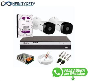 Kit 2 Câmeras de Segurança Full HD 1080p VHD 1220 B G6 + DVR Intelbras MHDX 3104 Full HD de 04 Canais + HD WD Purple 1TB - InfinityCftv