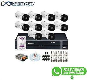 Kit 10 Câmeras VHD 1010 B G6 + DVR Intelbras + HD 1TB para Armazenamento + App Grátis de Monitoramento, Câmeras HD 720p + Fonte, Cabos e Acessórios-Infinity Cftv