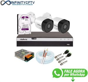 Kit 2 Câmeras de Segurança Full HD 1080p VHD 3230 B G6 + DVR Intelbras MHDX 3104 Full HD de 04 Canais + 1 HD Interno WD Purple 2TB Surveillance SATA III - Infinitycftv