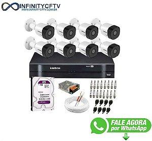 Kit 8 Câmeras VHD 3130 B G6 + DVR Intelbras + HD 1TB para Armazenamento + App Grátis de Monitoramento, Câmeras HD 720p 30m Infravermelho de Visão Noturna Intelbras + Fonte, Cabos e Acessórios-Infinity Cftv