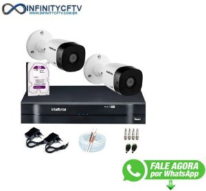 Kit 2 Câmeras VHD 1010 B G6 + DVR Intelbras + HD 1TB + App Grátis de Monitoramento, HD 720p 10m Infravermelho + Cabos e Acessórios-Infinity Cftv