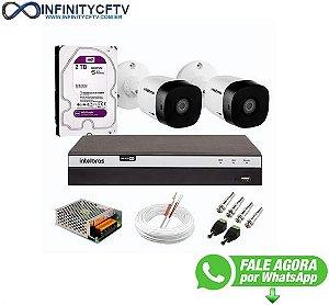 Kit 2 Câmeras de Segurança Full HD 1080p VHD 1220 B G6 + DVR Intelbras MHDX 3104 Full HD de 04 Canais + HD WD Purple 2TB - InfinityCftv