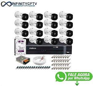 Kit 16 Câmeras VHD 1120 B G5 + DVR Intelbras + HD 1TB para + App Grátis de Monitoramento, HD 720p 20m Infravermelho + Cabos e Acessórios-Infinity Cftv
