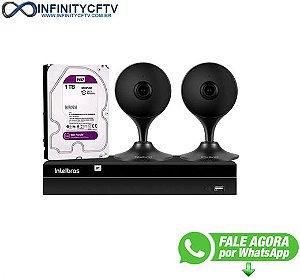 Kit 2 Câmeras Segurança Wifi Full HD iM3 Intelbras Preta + NVR 04 Canais 6MP NVD 1304 Intelbras + 1 HD WD Purple 1TB - InfinityCftv