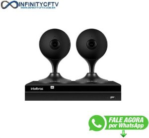 Kit 2 Câmeras com Inteligência Artificial Full HD iM3 Intelbras Preta + 1 NVR Stand Alone 04 Canais 6MP NVD 1304 Intelbras - InfinityCftv
