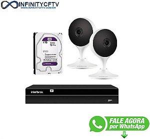 Kit 2 Câmeras com Inteligência Artificial Full HD iM3 Intelbras Branca + 1 NVR Stand Alone 04 Canais 6MP NVD 1304 Intelbras + 1 HD Interno WD Purple 1TB Surveillance SATA III - InfinityCftv