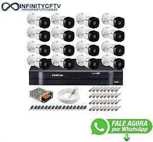 Kit 16 Câmeras VHD 1120 B G5 + DVR Intelbras + App Grátis de Monitoramento, HD 720p 20m Infravermelho + Cabos e Acessórios-Infinity Cftv