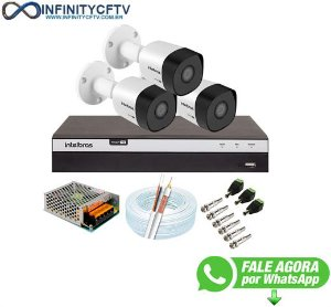Kit 3 Câmeras de Segurança Full HD 1080p VHD 3230 B G6 + DVR Intelbras MHDX 3104 Full HD de 4 Canais - InfinityCftv