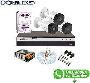 Kit 3 Câmeras de Segurança Full HD 1080p VHD 3230 B G6 + DVR Intelbras MHDX 3108 Full HD de 08 Canais + 1 HD Interno WD Purple 1TB Surveillance SATA III - InfinityCftv