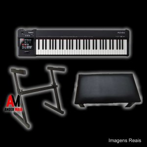 KIT PIANO DIGITAL ROLAND RD64 + SUPORTE P/PIANO DIGITAL SATY + BANCO