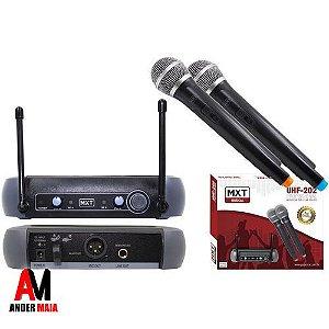 MICROFONE SEM FIO MXT UHF 202 DUPLO MÃO