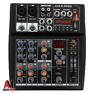 MIXER DE AUDIO PROFISSIONAL K2 KM-6.2POD