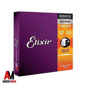 ENCORDOAMENTO ELIXIR P/ VIOLÃO 0.012 80/20 BRONZE NANOWEB