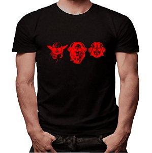 Camiseta Yoda, Chewbacca e Darth - Masculina