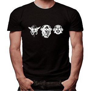 Camiseta Yoda, Chewbacca e Darth - Masculina - PT+BR