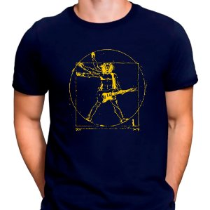 Camiseta Rockeiro Vitruviano Azul.M - Masculina