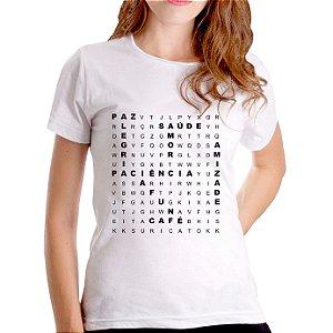 T-Shirt Caça Palavras Boas - Feminina