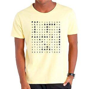 Camiseta Caça Palavras Boas - Masculina - AZM+AM+ROSA